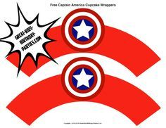 Superhero Printables - Free Captain America cupcake wrappers.