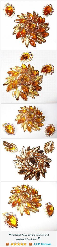Juliana Brooch Earring Demi Jewelry Set Citrine Yellow Rhinestones Layered Gold Metal Vintage https://www.etsy.com/listing/248486886/