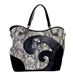 Large Black and Snakeskin Tote with Interchangeable Magnafab. Stop by 1823 Adams St., Mankato, Minnesota 56001, Ph. (507) 387-5000.