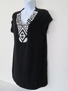 Cha Cha Vente Womens Black Beaded Tunic L Large Embellished V-Neck