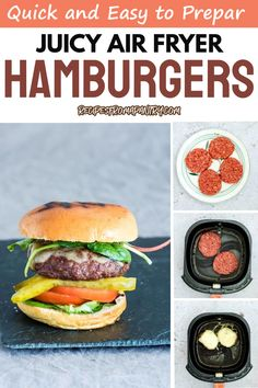 For days when you need a juice burger or two, here's a recipe that will show you how to whip up some using an air fryer! Quick and easy to prepare, these juice air fryer hamburgers might just become your new favorite. Click to follow the recipe. Air Fryer Dinner Recipes, Air Fryer Recipes, Lunch Recipes, Breakfast Recipes, Air Fryer Healthy, Salmon Burgers, Hamburger, Grilling, Gluten Free
