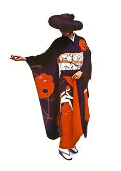 Collection de kimonos pour la maison Odasho de Kyoto.