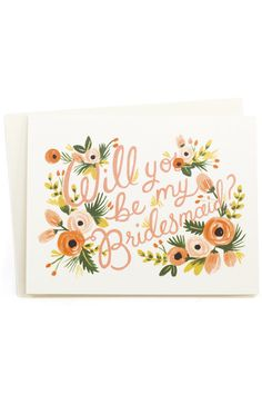 Love is in the air! Ask your lovely friends if they'll be your bridesmaids with these gorgeous floral cards! www.mooreaseal.com