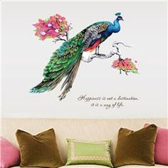 Modern Design Beautiful Peacock Standing on the Branch Pattern Removable Wall Stickers