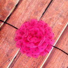 Pink and Black Headband- Flower Headband, Hot Pink Headband, Polka Dot Headband, Photography Prop, Newborn on Etsy, $6.25