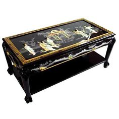 Black Lacquer Oriental Coffee Table with lower shelf. w, solid mahogany. Shiny lacquer finish with hand-carved mother of pearl Lady & Palace design. Coffee Table Next, Large Square Coffee Table, Black Coffee Tables, Cool Coffee Tables, Coffee Table With Storage, Asian Furniture, Chinese Furniture, Oriental Furniture, Furniture Styles