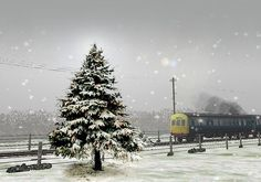 Winter email stationery (stationary): Christmas Tree & A Train
