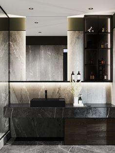 Moscow Ap on Behance moderne luxe Washroom Design, Toilet Design, Bathroom Design Luxury, Home Interior Design, Masculine Bathroom, Dark Living Rooms, Apartment Projects, Home Decor Kitchen, Bathroom Inspiration