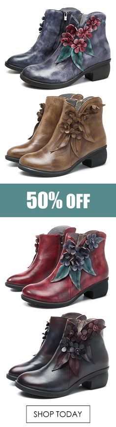 SOCOFY Vintage Handmade Floral Ankle Leather Boots For Women. #boots #fashion