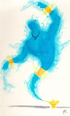 Puck would be portrayed as the stereotypical genie. Blue (to represent the Hindu god) with accents of gold