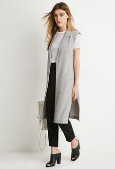 Longline Collared Vest - Jackets & Coats - Vests - 2000141906 - Forever 21 EU English