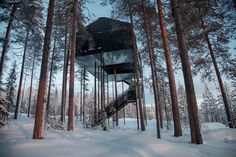 Snhetta has completed a treetop retreat seemingly floating among the forest canopy of pine trees for the Tree hotel in northern Sweden.