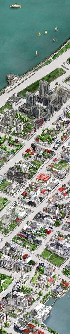 Interactive Hand-Drawn Map of Central Reykjavík