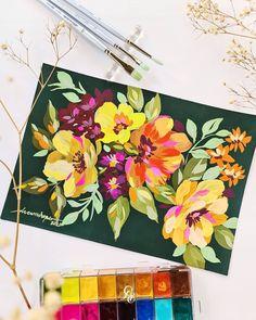 Abstract Line Art, Watercolour Tutorials, Canvas Paintings, Black Paper, Gouache, Flower Art, Watercolor Paintings, Florals, Cool Art