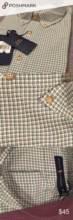 Ralph Lauren NWT XL fern green & burgundy twill. 100% cotton. Ralph Lauren Shirts