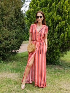 Red, white and navy shirt-dres/ maxi dress+camel embellished ankle strap heeled sandals+round rattan crossbody bag+gold necklace+sunglasses. Summer Casual Date Abaya Fashion, Fashion Dresses, Dress Outfits, Casual Dresses, Indian Gowns Dresses, Kurti Designs Party Wear, Stripes Fashion, Maternity Dresses, Striped Dress