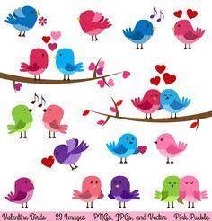 Valentine Birds Clipart Clip Art Love Birds by PinkPueblo on Etsy, $6.00