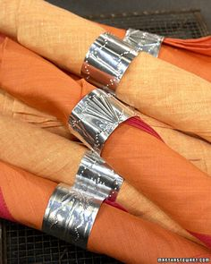 napkin rings from disposable aluminum tray