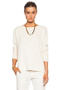 NILI LOTAN SCOOP NECK WOOL-BLEND BOYFRIEND SWEATER