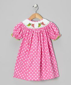Take a look at this Pink Polka Dot Owl Bishop Dress - Infant, Toddler & Girls by Helene's Closet on #zulily today!