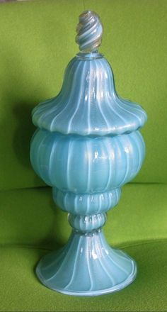 Gorgeous Vintage Murano Turquoise Blue Gold Barbini Apothecary Jar Bottle Italy