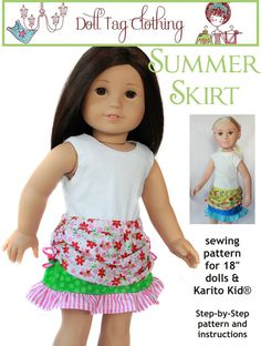Summer Skirt doll clothes pattern. A Doll Tag Clothing pattern from Pixie Faire.