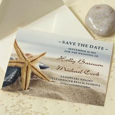 Starfish Wedding Save The Date Beach Save by willowglenstationery