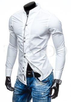 Pánská stylová košile - Senford, bílá Motorcycle Jacket, Shirt Dress, Mens Tops, Jackets, Shirts, Dresses, Fashion, Moda, Shirtdress