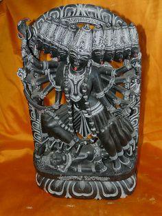 "18"" Kali Statue Ten Headed Mahakali Cosmic Form of Goddess Kali Stone Sculpture   eBay $675.00"