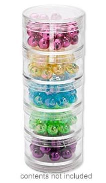 Threaded jars twist together for convenient storage of small parts, with the addition of one cap for the top jar.   #diyjewelry #beading #diyjewerlymaking