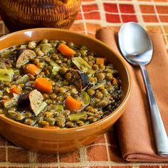 Delicious and healthy Slow Cooker Lentil Soup Recipe with Turkey Bratwurst, Leeks, and Sherry Vinegar from Kalyn's Kitchen.