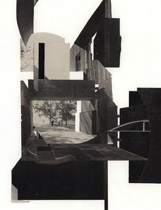 RISD exercise 1 (garden), ©Tres Roemer, 9 x 12, cut paper collage, Summer 2014.