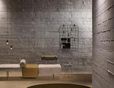 Interior Design Website, Office Interior Design, Interior Walls, Concrete Wall Panels, Faux Brick Panels, Loft Design, Küchen Design, Design Trends, Concrete Interiors