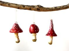 A set of three Little Toadstool Christmas Decorations made from