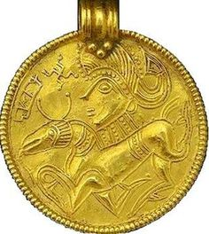 Woman and Stag, Shamanic - Bracteates from the island of Gotland Sweden, Брактеат