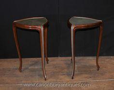 Paar Französisch Regency Shagreen Side Säulentische Möbel