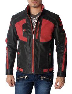 Lion Crest Design Faux Leather Black and Red Motorcycle Biker Jacket