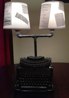 Remington typewriter lamp, salvaged material, handmade,one of a kind, lampshades