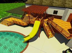 Now here is an idea. A slide from the top of the deck down to the pool.