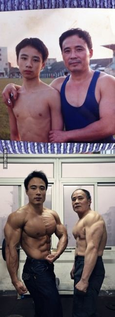 Chinese Father and Son, 22 years ago and now.