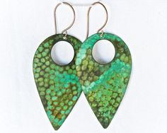 Hammered Teardrop Earrings in a Beautiful Green Patina by amywaltz
