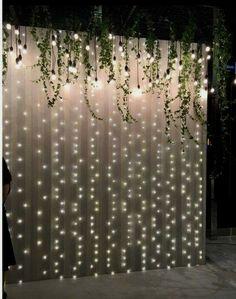 Legend DIY sheer curtain backdrop with fairy lights - Dekoration Hochzeit - Wedding Dekorations Wall Backdrops, Head Table Backdrop, Ceremony Backdrop, Backdrop Ideas, Diy Photo Backdrop, Ceremony Decorations, Photobooth Backdrop Diy, Wedding Backdrops, Backdrop Lights