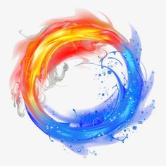 Fire and Ice, Round, Light Effect, Dynamic PNG Image
