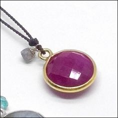 Handcrafted in Los Angeles, A sweet red ruby is set in a sterling silver bezel, paired with a raw diamond and set on chocolate silk. Diamond Necklace Simple, Diamond Pendant Necklace, Star Necklace, White Gold Diamonds, Round Diamonds, Celtic Wedding Bands, Victoria Kay, Raw Diamond, Eternity Ring