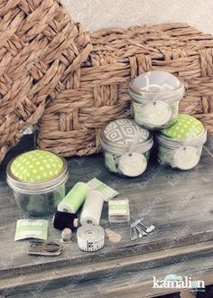 www.kamalion.com.mx - Recuerdos / Favors / Detalles Personalizados / Vintage / it's a boy / baby shower / verde y gris / green and gray / Kit de costura / Mason jar / Sewing kit / Costureros / Hilo / Aguja / Alfileres / Botones.