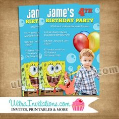 Spongebob Bubbles Birthday Invitations, Photo Invites