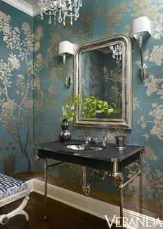 small bathroom 53832158026763917 - In Nashville, designer Suzanne Kasler created this powder room with shimmering Gracie wallpaper, vanity and fittings from Waterworks, sconces by Circa Lighting and a stool by David Iatesta. Source by Gracie Wallpaper, Powder Room Wallpaper, Silver Wallpaper, Elegant Bathroom Wallpaper, Wallpaper For Small Bathrooms, Painted Wallpaper, Bad Inspiration, Bathroom Inspiration, Bathroom Ideas