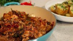 Roast balsamic chicken with smoked pancetta