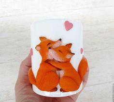 Купить Кружка Лисички Любовь из полимерной глины - оранжевый, белый, кружка, лисички, лисята