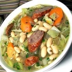 Using leftover brats hurries along the preparation of this satisfying stew from Deborah Elliott of Ridge Springs, South Carolina. 'When time is short, this flavorful combination is so good and so easy, I usually have all the ingredients handy,' she adds.